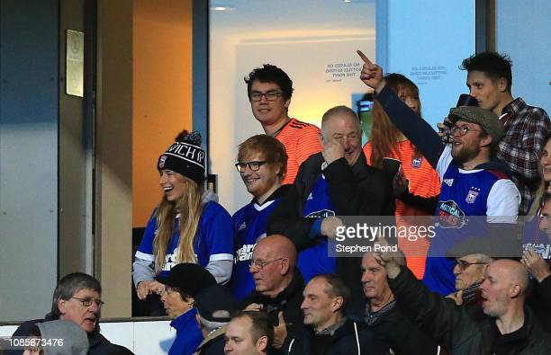 Ipswich Town fan and singer Ed Sheeran celebrates his sides opening goal during the Sky Bet Championship match between Ipswich Town and Sheffield...