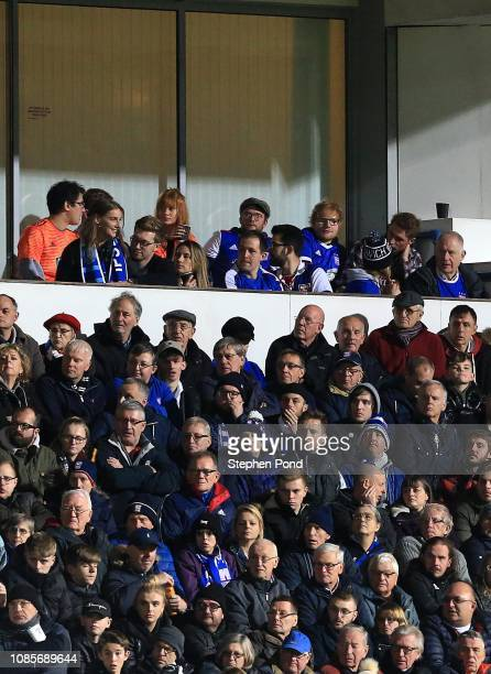 Ipswich Town fan and singer Ed Sheeran looks on during the Sky Bet Championship match between Ipswich Town and Sheffield United at Portman Road on...
