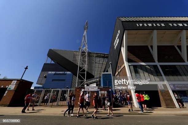 Ipswich Town fans arrive ahead of the Sky Bet Championship match between Ipswich Town and Middlesbrough at Portman Road on May 6 2018 in Ipswich...