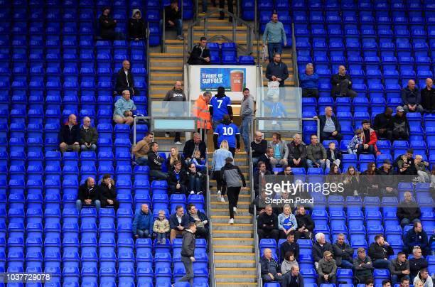 Ipswich Town fans leave the stadium before the final whistle during the Sky Bet Championship match between Ipswich Town and Bolton Wanderers at...