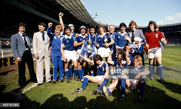 Ipswich Town FC celebrate after winning the 1978 FA Cup final against Arsenal 10 at Wembley stadium on May 6 1978 in London England Manager Bobby...