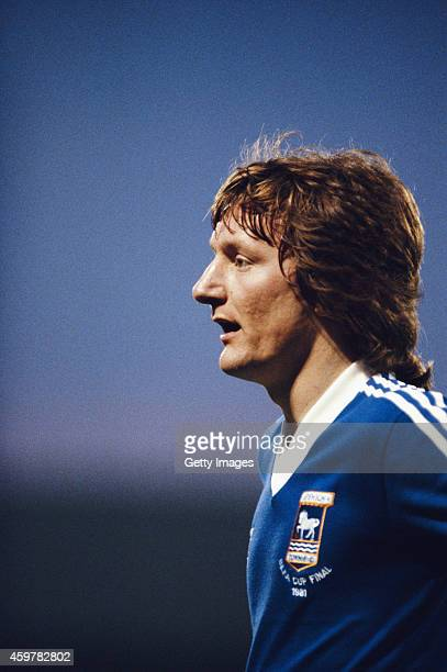 Ipswich Town forward Eric Gates looks on during the UEFA Cup Final first leg between Ipswich and AZ 67 Alkmaar at Portman Road on May 6 1981 in...