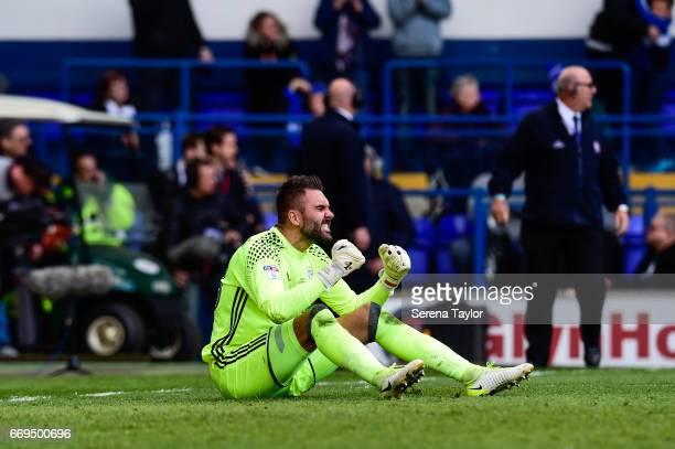 Ipswich Town Goalkeeper Bartosz Bialkowski celebrates after Ipswich score their third goal during the Sky Bet Championship Match between Ipswich Town...