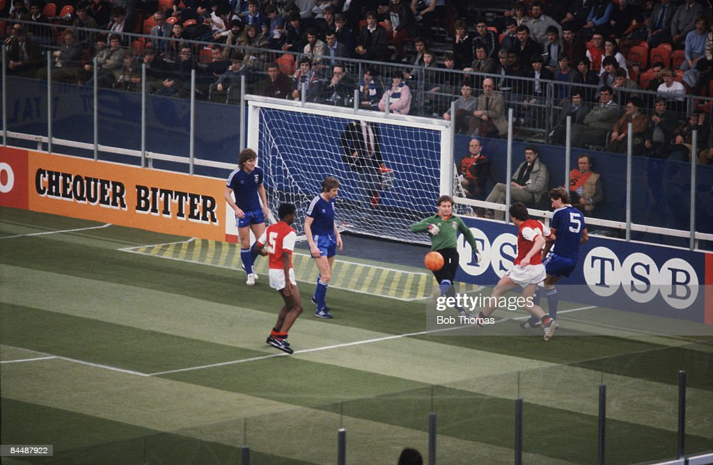 Ipswich Town goalkeeper Laurie Sivell kicks clear after an attack by Arsenal during the Atari Soccer Six-A-Side at the National Exhibition Centre (NEC), Birmingham, 25th-26th January 1983.