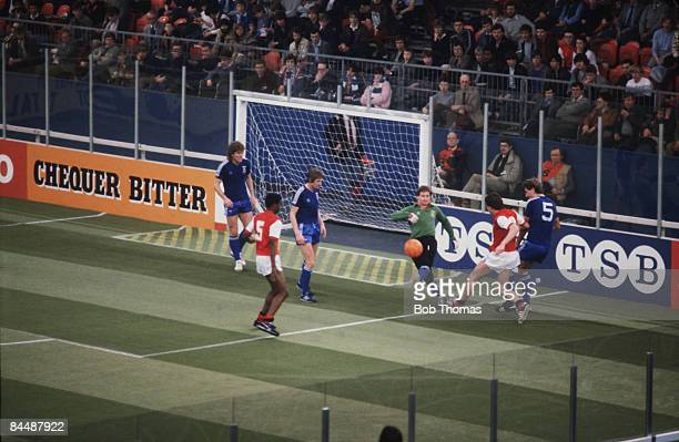 Ipswich Town goalkeeper Laurie Sivell kicks clear after an attack by Arsenal during the Atari Soccer Six-A-Side at the National Exhibition Centre ,...