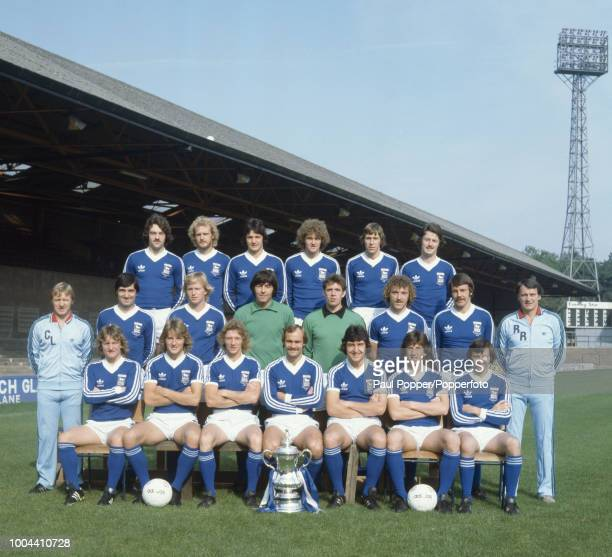 Ipswich Town line up for a group photo at Portman Road in Ipswich England circa August 1978 Back row John Wark Les Tibbott George Burley Trevor...