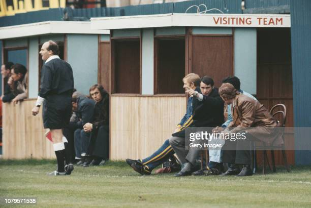 Ipswich Town manager Bobby Robson makes a point from the Visiting Team's makeshift bench during a match circa 1973 in England.