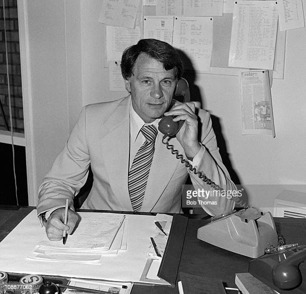 Ipswich Town Manager Bobby Robson working in his office at Portman Road in Ipswich 30th July 1981