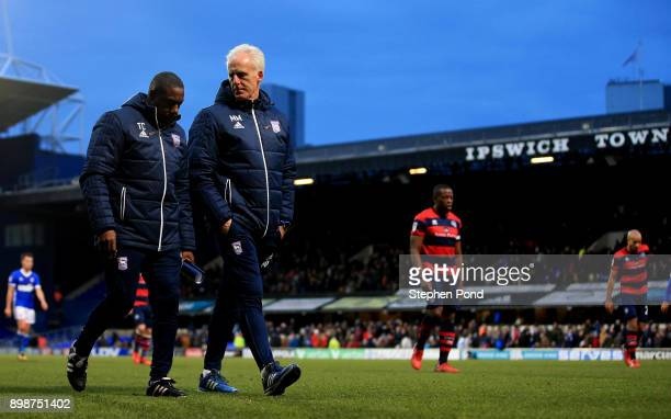 Ipswich Town Manager Mick McCarthy and Assistant Terry O'Connor leave the field at half time during the Sky Bet Championship match between Ipswich...