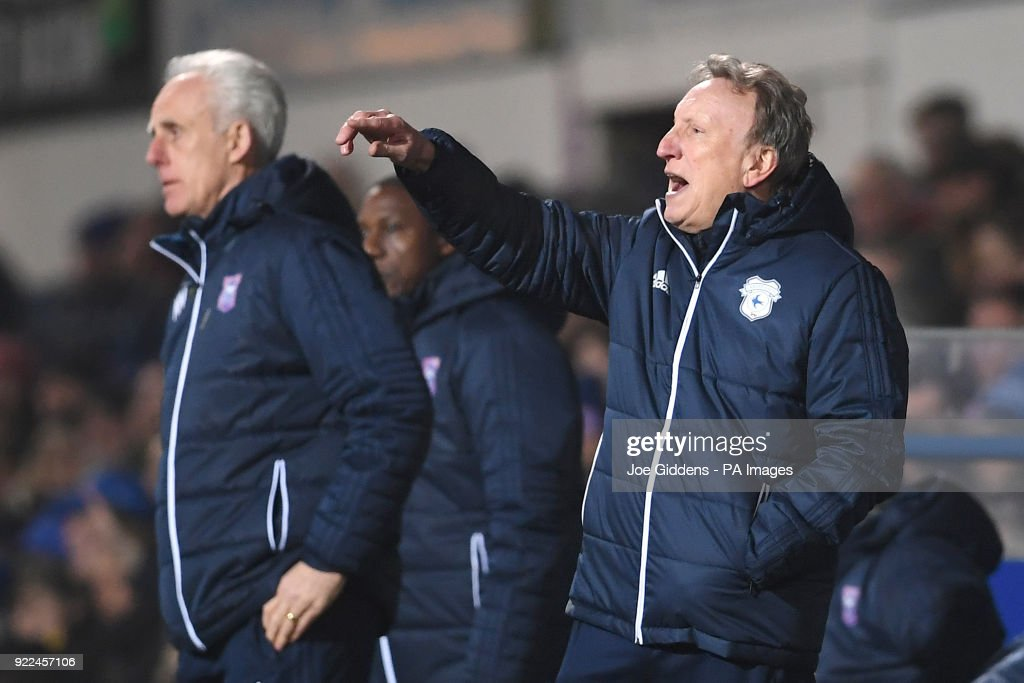 Ipswich Town manager Mick McCarthy (left) and Cardiff City manager Neil Warnock during the Sky Bet Championship match at Portman Road, Ipswich.