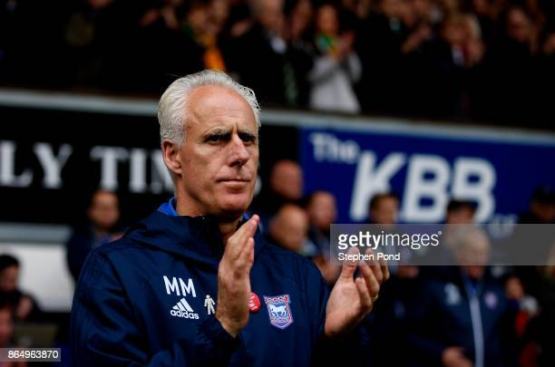 Ipswich Town manager Mick McCarthy during the Sky Bet Championship match between Ipswich Town and Norwich City at Portman Road on October 22 2017 in...