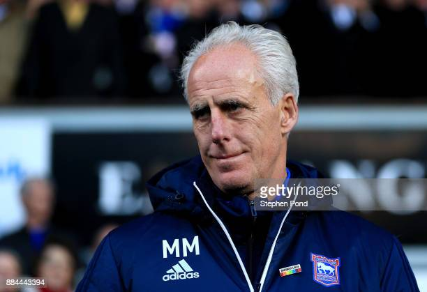 Ipswich Town Manager Mick McCarthy during the Sky Bet Championship match between Ipswich Town and Nottingham Forest at Portman Road on December 2...
