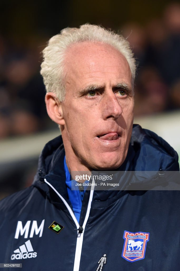 Ipswich Town manager Mick McCarthy during the Sky Bet Championship match at Portman Road, Ipswich.
