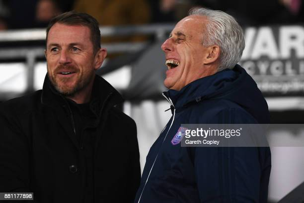 Ipswich Town Manager Mick McCarthy laughs as he speaks to Derby County Manager Gary Rowett prior to the Sky Bet Championship match between Derby...