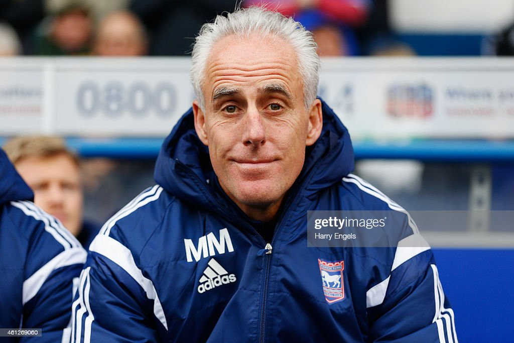 Ipswich Town manager Mick McCarthy looks on before kick off during the Sky Bet Championship match between Ipswich Town and Derby County at Portman Road on January 10, 2015 in Ipswich, England.