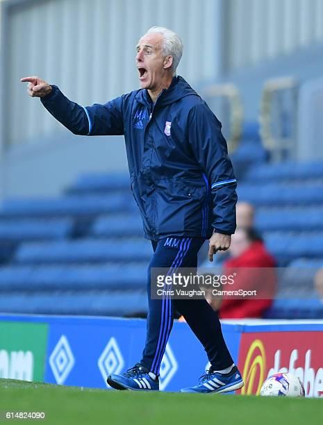 Ipswich Town manager Mick McCarthy shouts instructions to his team from the dugout during the Sky Bet Championship match between Blackburn Rovers and...