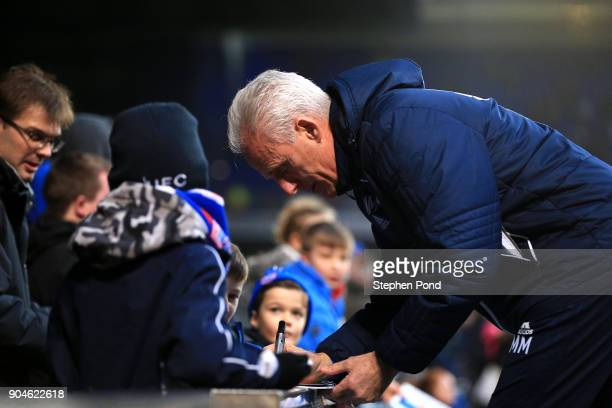 Ipswich Town Manager Mick McCarthy signs autographs during the Sky Bet Championship match between Ipswich Town and Leeds United at Portman Road on...