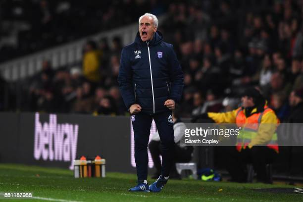 Ipswich Town Manager Mick McCarthy yells at his players during the Sky Bet Championship match between Derby County and Ipswich Town at iPro Stadium...
