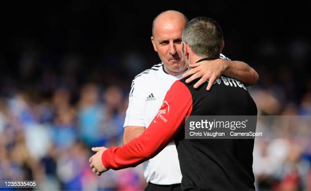 Ipswich Town manager Paul Cook, left, with Lincoln City manager Michael Appleton prior to the Sky Bet League One match between Lincoln City and...