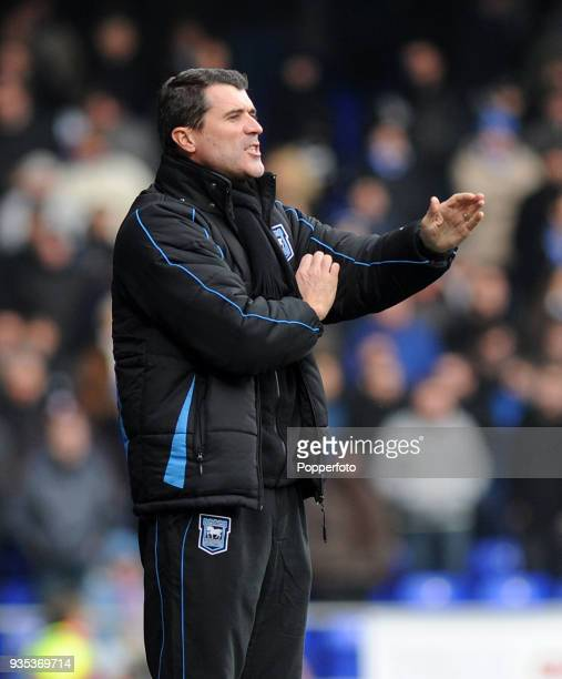 Ipswich Town manager Roy Keane shouts instructions from the touchline during the npower Championship match between Ipswich Town and Swansea City at...