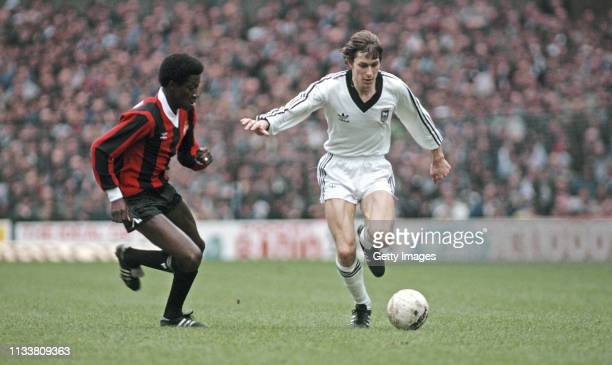 Ipswich Town player Arnold Muhren holds off the challenge of Manchester City player Dave Bennett during the 1981 FA Cup Semi Final at Villa Park on...