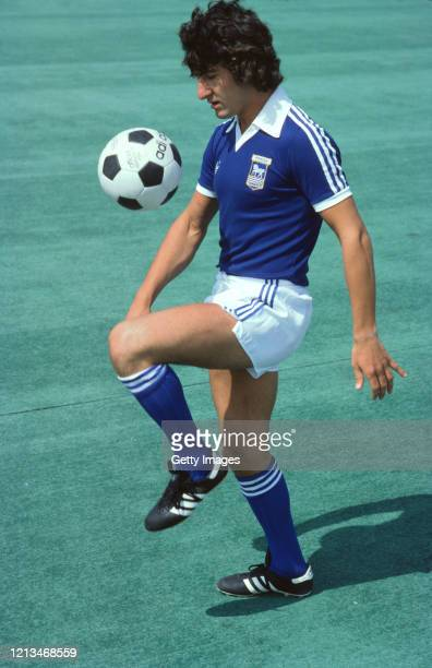Ipswich Town player Brian Talbot pictured juggling an Adidas football wearing Adidas boots during a photo shoot circa 1978 in the United Kingdom.