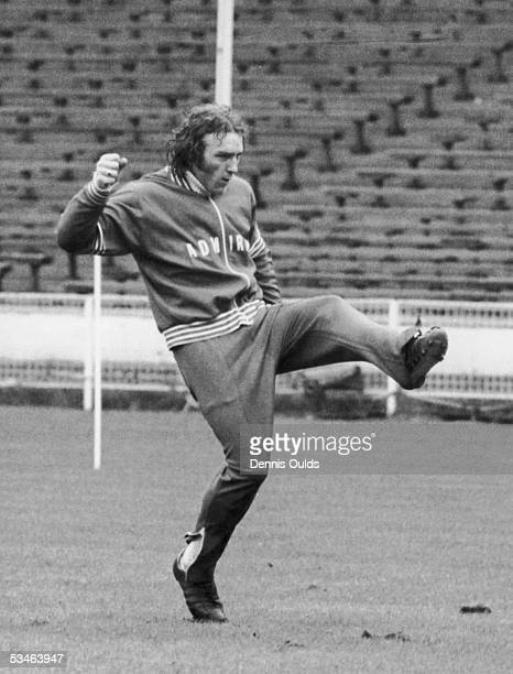 Ipswich Town player Kevin Beattie in training at Wembley for the upcoming international 14th April 1975