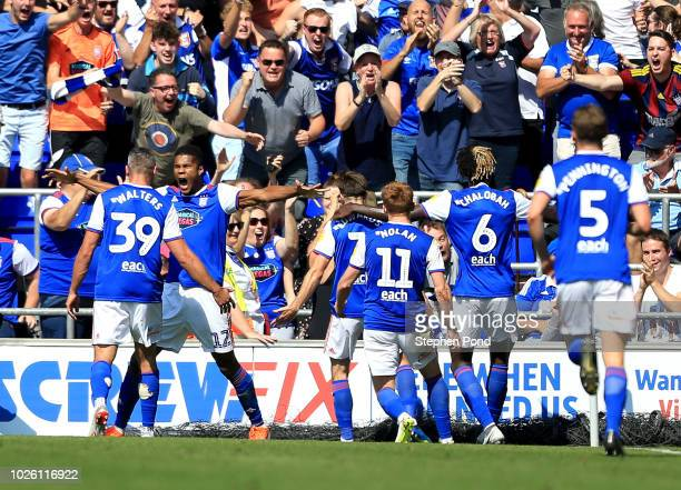 Ipswich Town players celebrate as Gwion Edwards of Ipswich Town scores their first goal during the Sky Bet Championship match between Ipswich Town...