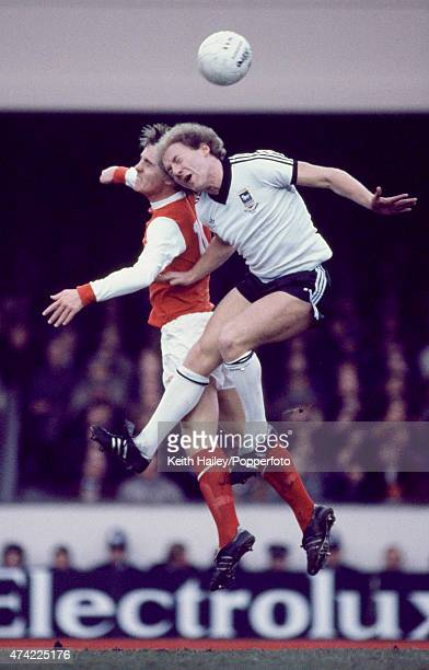 Ipswich Town striker Alan Brazil clashes with Steve Gatting of Arsenal during a First Division match at Highbury in London circa 1980