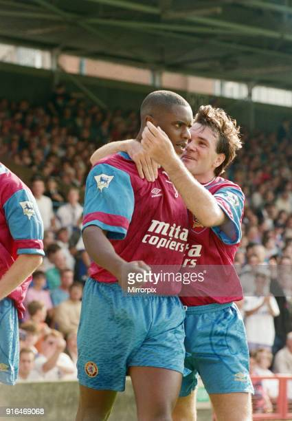 Ipswich Town v Aston Villa final score 11 Premier League Portman Road Ipswich Pictured is Dalian Atkinson being congratulated by Ray Houghton of...