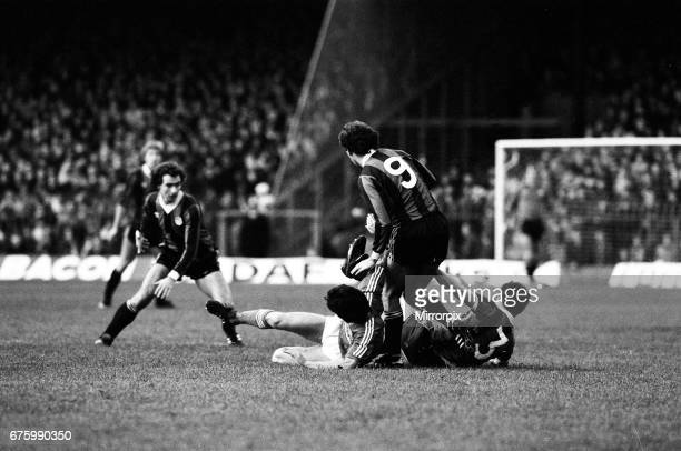 Ipswich Town v Manchester City league match at Portman Road November 1981. Final score: Ipswich 2-0 Manchester City.