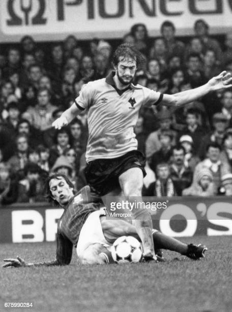 Ipswich Town v Wolves league match at Portman Road October 1981 Kenny Hibbitt of Wolverhampton Wanderers is tackled by Arnold Muhren of Ipswich Town...