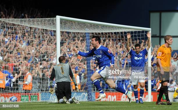 Ipswich Town's Alan Lee celebrates his goal during the CocaCola Championship match at Portman Road Ipswich