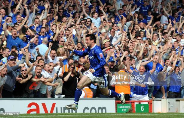 Ipswich Town's Alan Lee celebrates his goal in front of the Ipswich Town fans during the CocaCola Championship match at Portman Road Ipswich