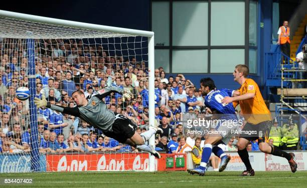 Ipswich Town`s Alan Lee scores the opening goal of the game during the CocaCola Championship match at Portman Road Ipswich
