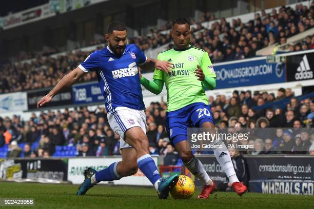 Ipswich Town's Cameron CarterVickers and Cardiff City's Loic Damour battle for the ball during the Sky Bet Championship match at Portman Road Ipswich