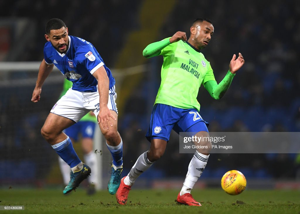Ipswich Town's Cameron Carter-Vickers (left) and Cardiff City's Loic Damour battle for the ball during the Sky Bet Championship match at Portman Road, Ipswich.