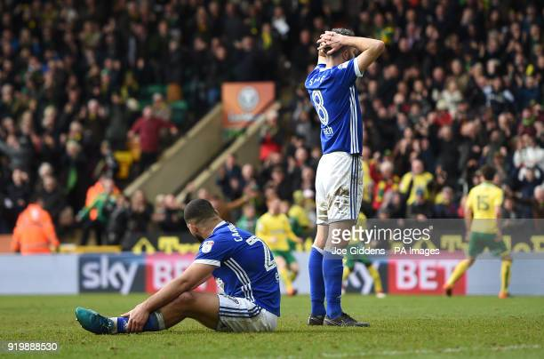 Ipswich Town's Cameron CarterVickers and Cole Skuse look dejected after conceding a late equaliser during the Sky Bet Championship match at Carrow...