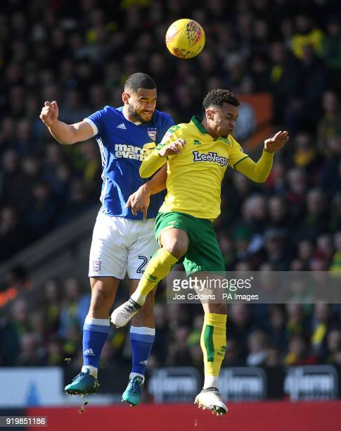 Ipswich Town's Cameron CarterVickers and Norwich City's Josh Murphy battle for the ball during the Sky Bet Championship match at Carrow Road Norwich