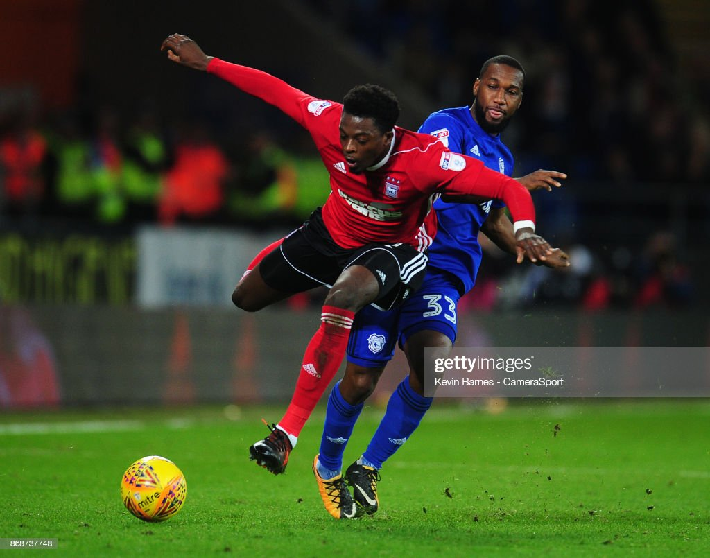 Ipswich Town's Dominic Iorfa is fouled by Cardiff City's Junior Hoilett during the Sky Bet Championship match between Cardiff City and Ipswich Town at Cardiff City Stadium on October 31, 2017 in Cardiff, Wales.