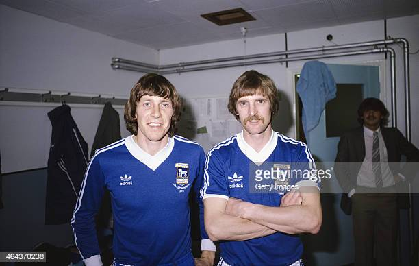 Ipswich Town's Dutch international players Arnold Muhren and Frans Thijssen pictured in the dressing room in 1981 in Ipswich, England.