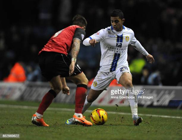 Ipswich Town's Luke Chambers and Leeds United's Cameron Stewart in action during the Sky Bet Championship match at Elland Road Leeds
