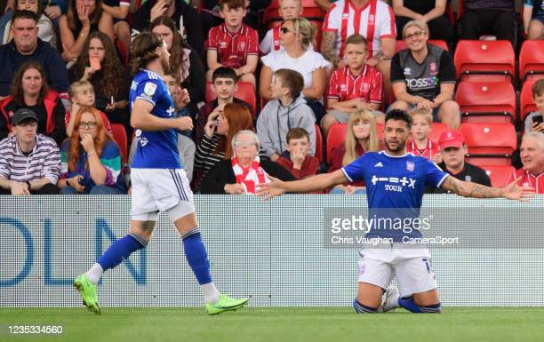 Ipswich Town's Macauley Bonne celebrates scoring the opening goal during the Sky Bet League One match between Lincoln City and Ipswich Town at LNER...