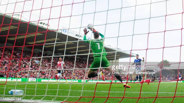 Ipswich Town's Macauley Bonne scores the opening goal during the Sky Bet League One match between Lincoln City and Ipswich Town at LNER Stadium on...