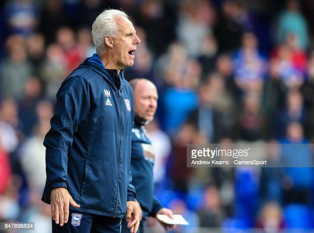 Ipswich Town's manager Mick McCarthy bellows instructions during the Sky Bet Championship match between Ipswich Town and Bolton Wanderers at Portman...