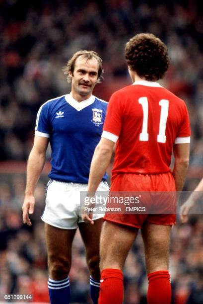Ipswich Town's Mick Mills stares at Liverpool's Graeme Souness