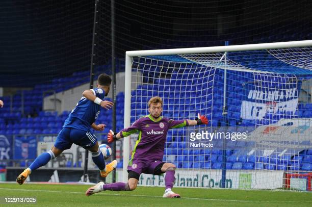 Ipswichs Keanan Bennetts sees his shot saved by Accringtons Toby Savin during the Sky Bet League 1 match between Ipswich Town and Accrington Stanley...