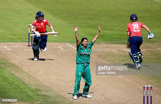 Iqbal of Pakistan makes an unsucsessful appeal during the 1st Natwest International T20 played between England Women and Pakistan Women at The County...