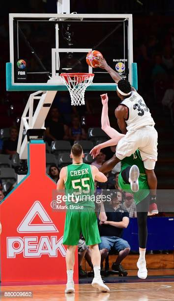 Ira Brown of Japan misses a huge slam dunk during the FIBA 2019 Asia Cup Qualifier match between the Australian Boomers and Japan at Adelaide Arena...