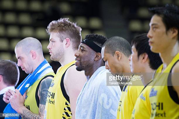 Ira Brown of the SunRockers reacts after the B League match between Hitachi SunRockers TokyoShibuya and Niigata Albirex BB at the Aoyama Gakuin...